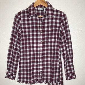 Sahalie Plaid Flannel Button Front Shirt Raw Hem